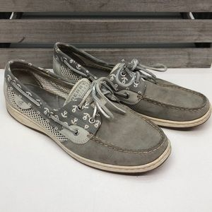 Sperry Top Sider Gray Leather Loafers 10